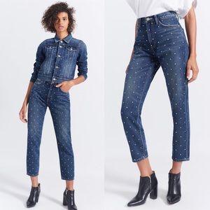 Current Elliot Vintage Cropped Slim Studded Jeans